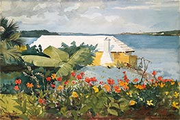 Flower Garden and Bungalow, Bermuda, 1899 by Winslow Homer | Giclée Paper Print