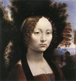Leonardo da Vinci   Portrait of Ginevra de' Benci, c.1474/78   Giclée Canvas Print