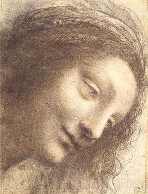 Head of the Virgin, c.1508/12 | Leonardo da Vinci | Painting Reproduction