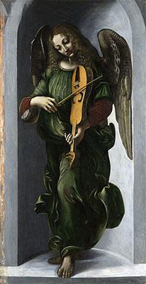 An Angel in Green with a Vielle, b.1506 | Leonardo da Vinci | Painting Reproduction