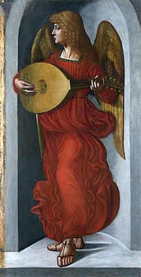 An Angel in Red with a Lute, c.1490/99 | Leonardo da Vinci | Painting Reproduction