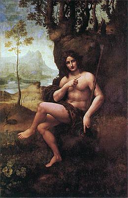 St John the Baptist (with the Attributes of Bacchus), c.1513/19   Leonardo da Vinci   Painting Reproduction